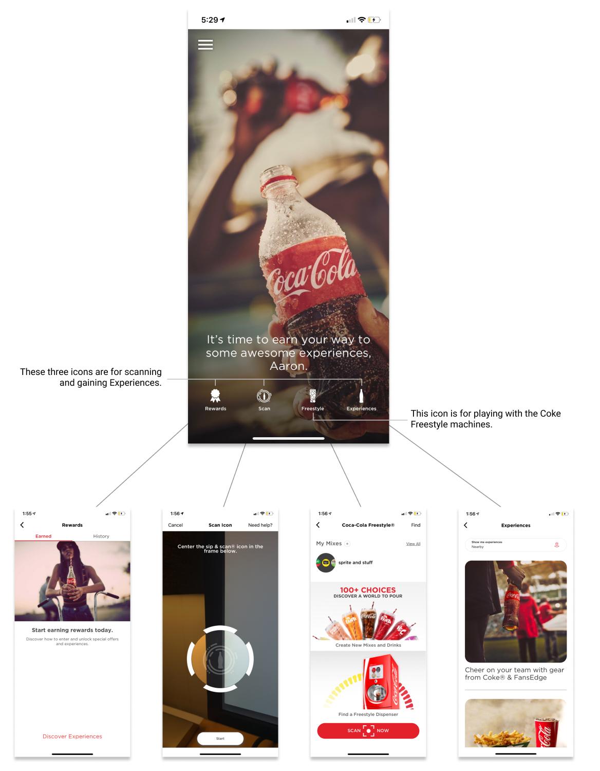 coke app home screen